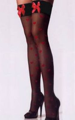 Black Hold Up Stockings Red Bows & Hearts